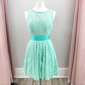 Mint Green Short Stretch Lace Prom Dress